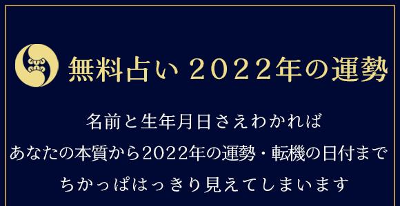 無料占い2022年の運勢。名前と生年月日さえかわれば、あなたの本質から2022年の運勢・転機の日付まで、ちかっぱはっきり分かります